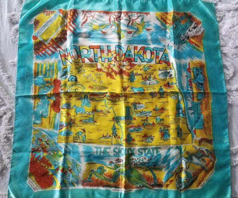 1940s-50s Vintage Silk & Rayon Souvenir Scarf North Dakota STATE 28 X 28