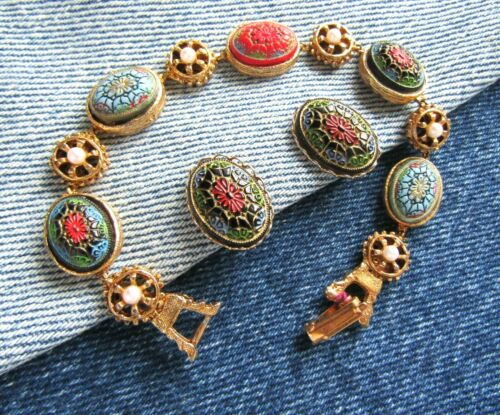 Vintage Colorful Glass Cabochon Costume Pearl Bracelet And Clip Earrings