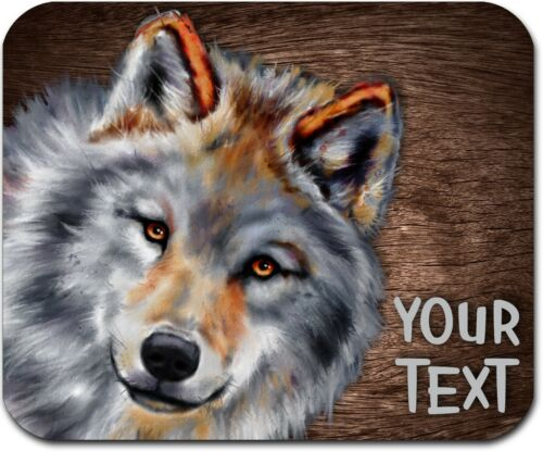 MOUSE PAD PERSONALIZED CUSTOM THICK MOUSEPAD-WATERCOLOR WOLF-FREE SHIPPING
