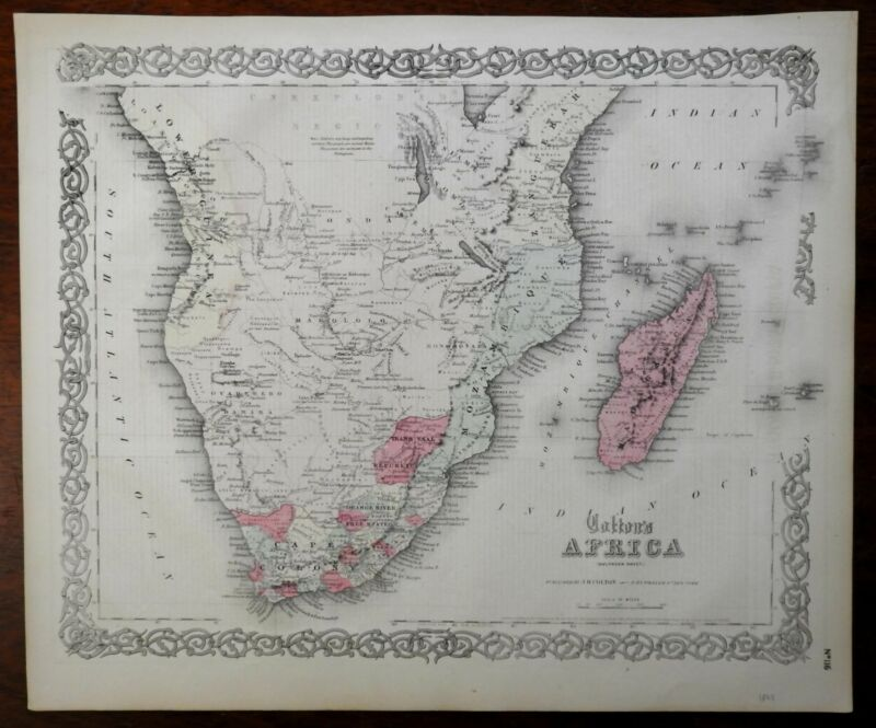 South Africa Mozambique Madagascar Orange River Free State 1865 Colton map
