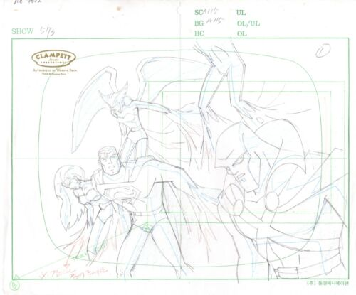 Justice League Production Animation Cel Layout Drawing Warner Brothers 022