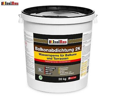 Isolbau Balkonabdichtung Dichtschlämme 2K Abdichtung Terrasse Balkone Bad 20kg