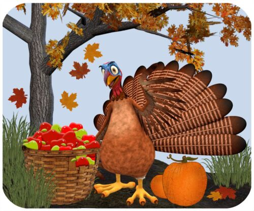 MOUSE PAD CUSTOM PERSONALIZED THICK MOUSEPAD-THANKSGIVING TURKEY