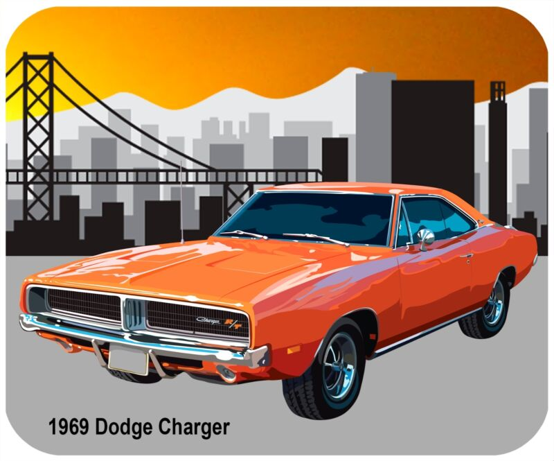 MOUSE PAD CUSTOM THICK MOUSEPAD-1969 DODGE CHARGER - ANY TEXT FOR FREE