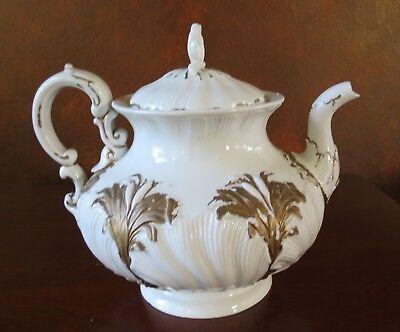 Meissen Porcelain Cattail & Gold Rococo Oyster Tea Pot Sword Mark