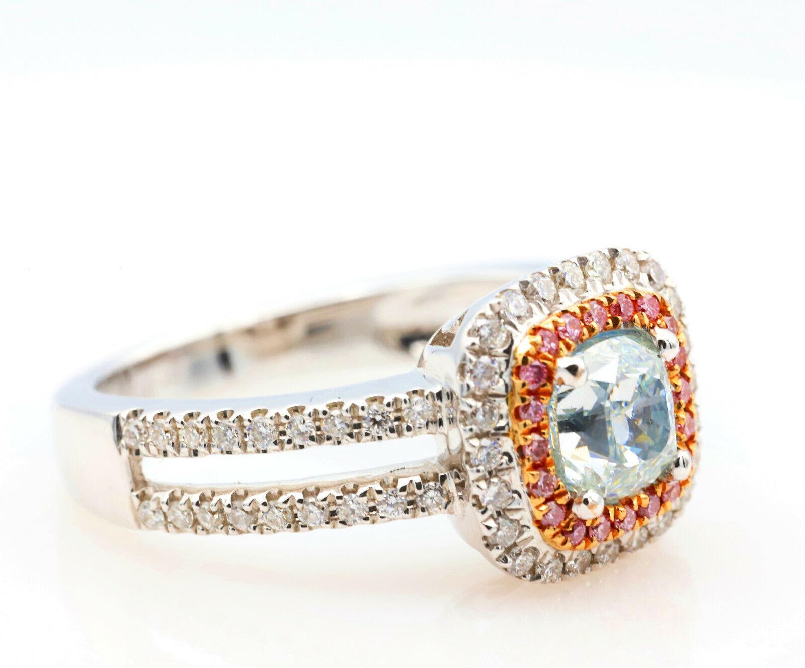 1.50ct Natural Fancy Light Green Argyle ntense Pink Diamonds Engagement Ring GIA 4