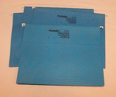 Lot Set Of 5 Blue Pendaflex Letter Hanging Folders