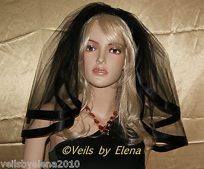 Wedding Veil Gothic Black Shoulder Halloween Mourning Wide Satin Edge USA Made (Black Bridal Veil Halloween)