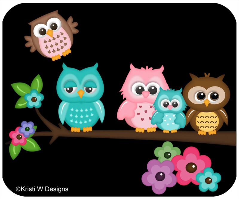 MOUSE PAD CUSTOM THICK MOUSEPAD - 5 OWLS - ADD ANY TEXT FREE