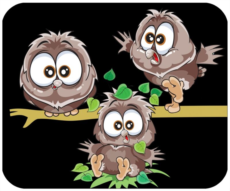 MOUSE PAD CUSTOM THICK MOUSEPAD - 3 OWLS - ADD ANY TEXT FREE