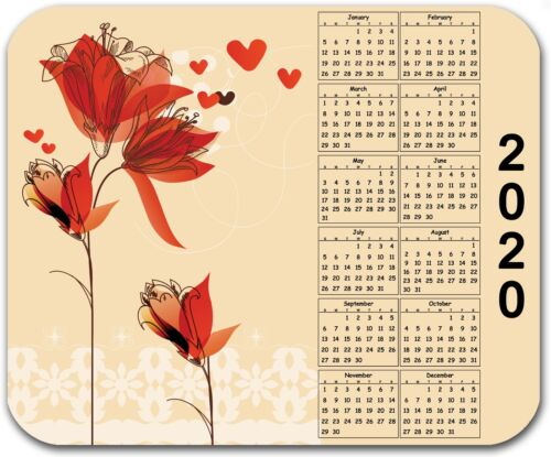 MOUSE PAD CUSTOM THICK MOUSEPAD-RED FLOWERS WITH 2020 YEARLY CALENDAR