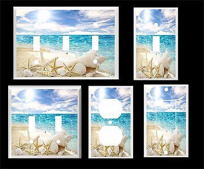 WHITE SEA SHELL STARFISH ON THE BEACH OCEAN  LIGHT SWITCH COVER PLATE](Beach Light Switch Covers)