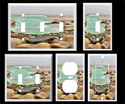 Sea Glass Stack (SEA GLASS BEACH GLASS IN A STACK BLUE GREEN  LIGHT SWITCH COVER PLATE)