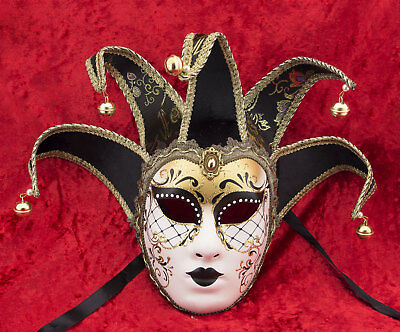 Mask Venice Volto Jolly Black 5 nails -disguise and decoration - 2200