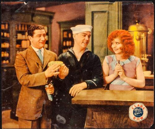 """Movie Poster True to the Navy 1930 Linen Jumbo Lobby Card 14""""x17"""" VF-7 Clara Bow"""