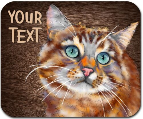 MOUSE PAD PERSONALIZED CUSTOM THICK MOUSEPAD-WATERCOLOR COLORFUL ORANGE CAT