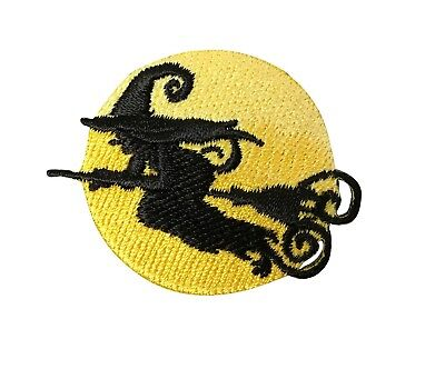 Witch Silhouette - Full Moon - Halloween - Iron on Applique/Embroidered - Halloween Witch Silhouette