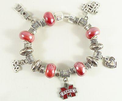 MISSISSIPPI STATE BULLDOGS NCAA Licensed Charm Silver TEAM Bracelet GLASS -