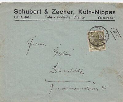 Geschäftsumschlag Schuber&Zacher Köln-Nippes 1921 Fabrik isolierter Drähte