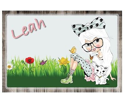"CUSTOM, PERSONALIZED - SET OF 2 12""x18"" PLAY MATS/ PLACEMATS - CUTE GIRL"