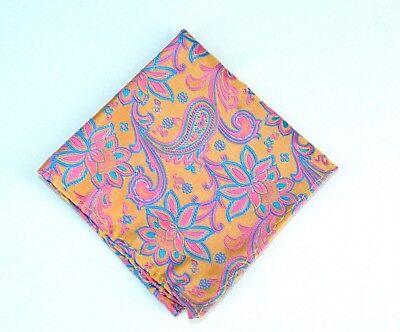 Lord R Colton Masterworks Pocket Square - Charleston Gold & Pink Silk - $75 New
