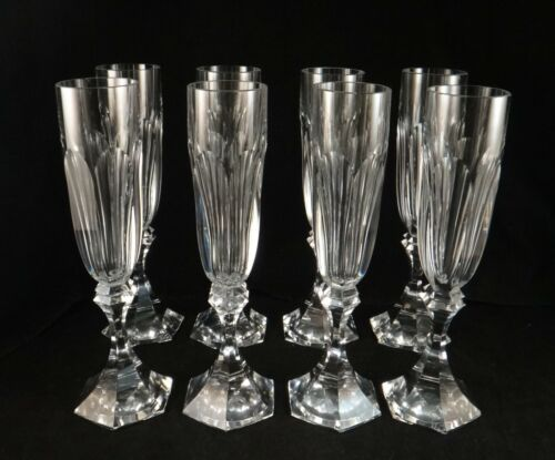 """8 Vintage St. Louis Cut Crystal Champagnes, Chambord Pattern, 8 ¾""""."""
