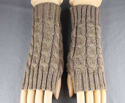 Lt Brown Cable Knit Arm Warmer Fingerless Gloves Warmers Open Thumb Texting
