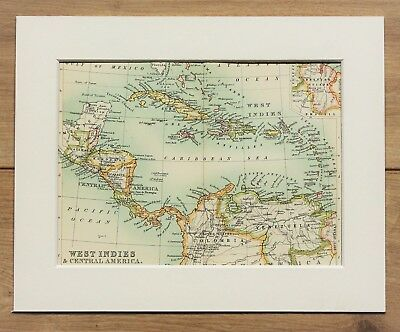 c.1900 Antique Small Map - West Indies Central America Caribbean Sea - Mounted