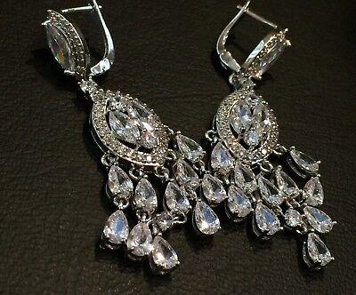 14k White Gold Chandelier Earrings made w Swarovski Crystal Marquise Bling Stone