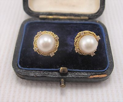 A Pair of Pearl & Diamond Earrings in 18ct Yellow Gold