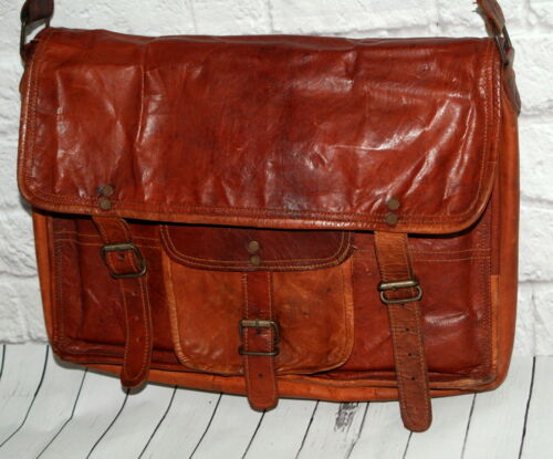 Vintage Leather Messenger Bag Brown Handbag Shoulder Bag Adj Strap Boho Distress