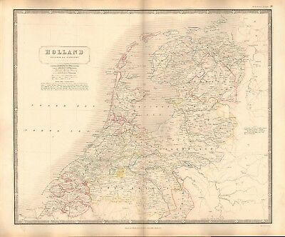 1844 LARGE ANTIQUE MAP- JOHNSTON - HOLLAND