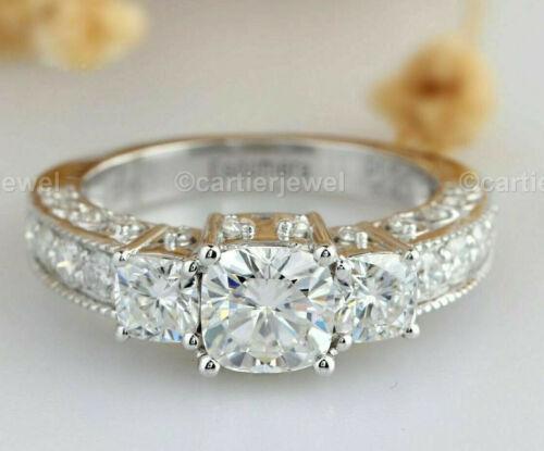 2.77ct Cushion Cut Three Stone Diamond Engagement Ring Solid 14k White Gold