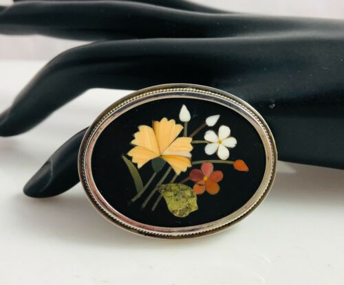 Antique 800 Sterling Silver Frame & Mosaic Pietra Dura Flowers Oval Pin Brooch
