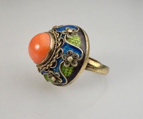 Vintage Chinese Enamel Export Silver Coral Ring       -    56362