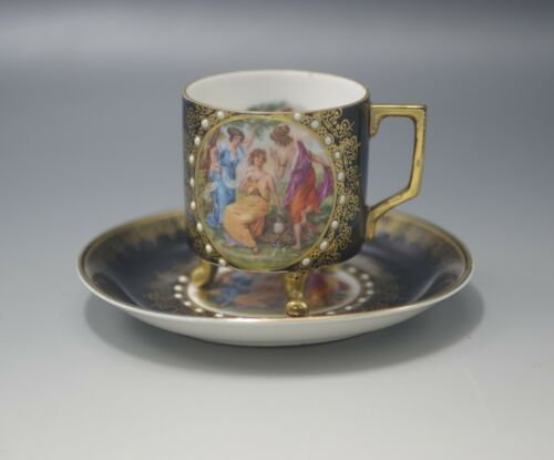 MITTERTEICH BAVARIA NEOCLASSICAL NYMPHS CHOCOLATE CUP AND SAUCER ANTIQUE