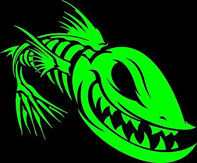FISH SKELETON sticker fishing ZOMBIE BONES green Decal Evil Skull Window  - Fish Skeleton