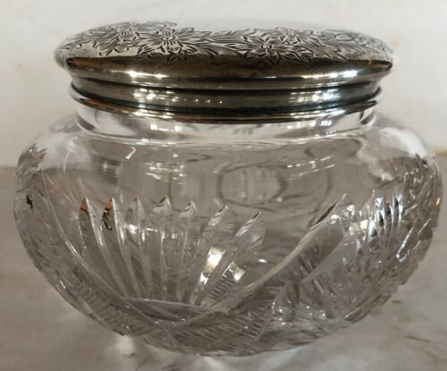 Vtg Dressing Table Vanity Glass Jar Sterling Silver Lid 61 sterling 2403-4