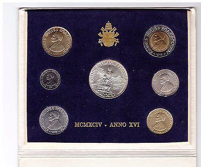 Vatikan Kursmünzensatz 1994 10 Lire-1000 Lire Papst Paul im Blister, Bankfrisch