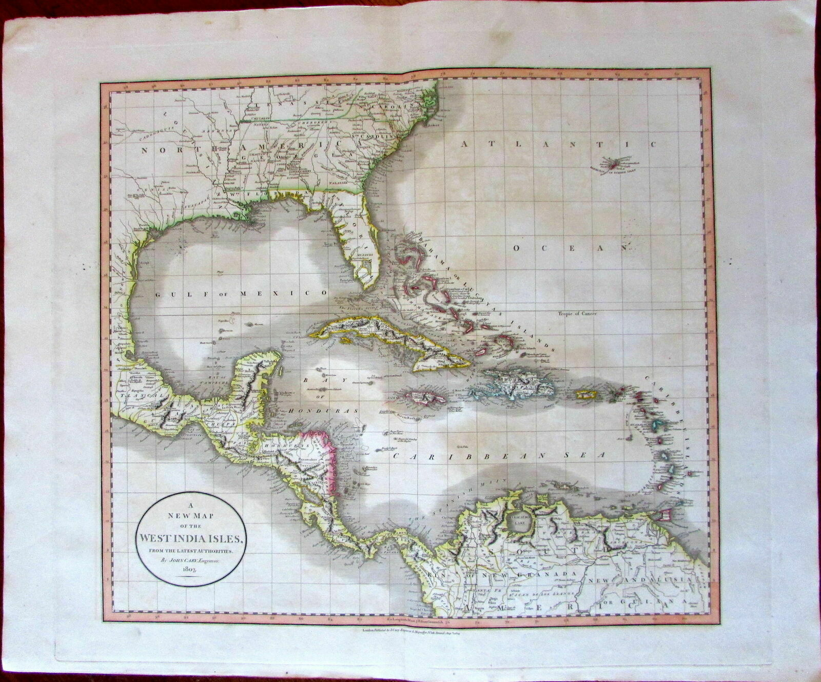 West Indies Florida Georgia 1803 John Cary lovely large old map