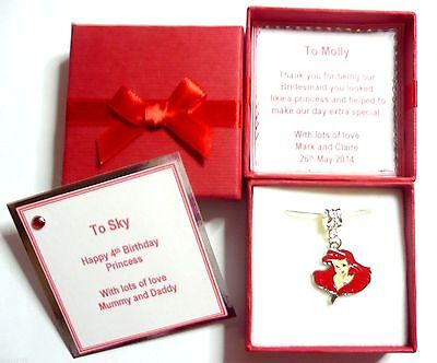 Bridesmaid/Birthday Necklaces inspired Disney Princess Ariel Personalised Gift](Personalized Disney Princess Gifts)
