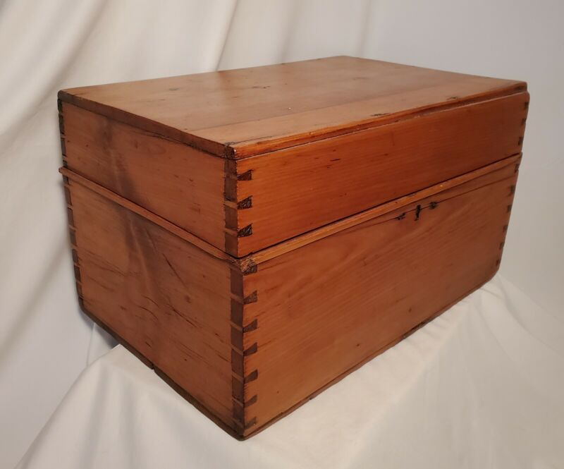 Large Wooden Box, Primitive, Handmade With Dovetail Detail, Estate Sale Find!