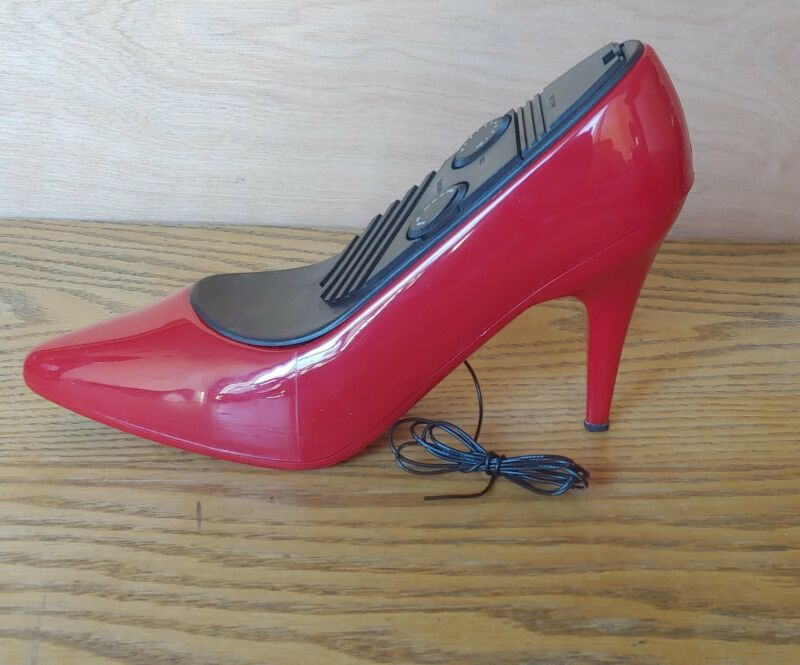 Groovy Tunes! Red high heel shoe radio circa 80