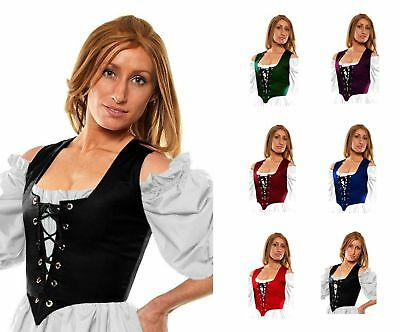 RENAISSANCE DRESS-UP VICTORIAN COSTUME MEDIEVAL CELTIC WENCH CORSET BODICE #Rg2x (Medieval Dress Green)