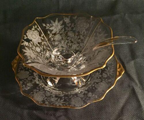 Cambridge Crystal Wildflower Gold Encrusted 3 Piece Mayo Set
