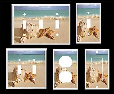SEA SHELL STARFISH BEACH  # 21 LIGHT SWITCH COVER PLATE U PICK  PLATE SIZE - Beach Light Switch Covers