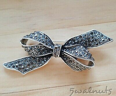 Vintage style Silver Bow Brooch Pin with Black Rhinestones Crystals