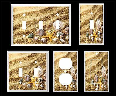 SEA SHELL STARFISH ON THE BEACH WAVY SAND  LIGHT SWITCH COVER U PICK  PLATE SIZE](Beach Light Switch Covers)