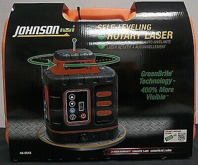 102862 Johnson Self Leveling Rotary Laser Kit 40-6543 New In Box