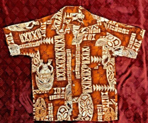 Vintage Hawaiian Bark Cloth Tiki Shirt, Kane Size L